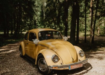 Geltonas klasikinis vabalas - vestuvių fotosesija miške - foto Sandra Tamos
